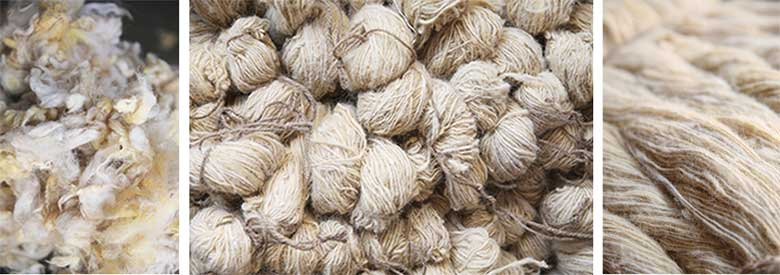 Raw wool yarn for handmade rugs