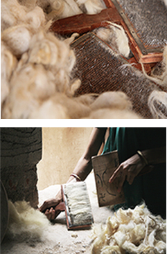 Raw wool cleaning and carding - Jaipur Rugs